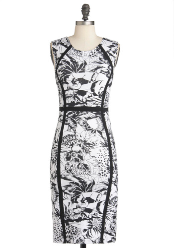 Garden Great Dress by Motel - Mid-length, Black, White, Party, Shift, Sleeveless, Summer, Floral, Pinup, Cocktail, Cotton