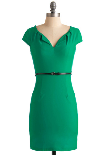 And We're Live Dress in Green - Green, Solid, Pockets, Work, Shift, Cap Sleeves, Belted, Girls Night Out, Variation, Pinup, Best Seller, Mid-length