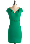 And We're Live Dress in Green - Mid-length, Green, Solid, Pockets, Work, Sheath / Shift, Cap Sleeves, Belted, Girls Night Out, Variation, Pinup, Best Seller