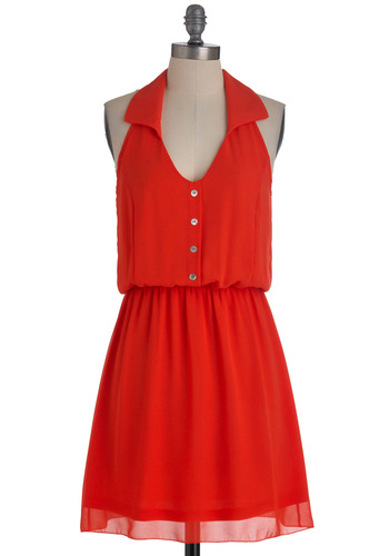 The Right Idea Dress - Mid-length, Red, Solid, Buttons, Casual, Shirt Dress, Summer, Racerback