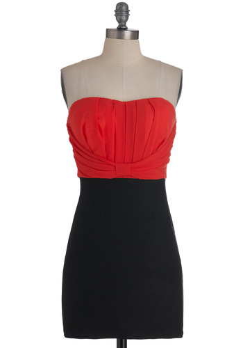 Tale of Wow Dress - Short, Red, Black, Pleats, Party, Mini, Strapless, Cocktail, Girls Night Out, Bodycon / Bandage, Sweetheart