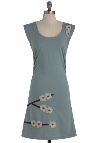 Magnolia Blossom Dress - Mid-length, Blue, Brown, White, Solid, Casual, Flower, Cap Sleeves, Eco-Friendly, Cotton