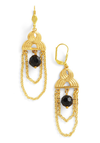 Hall of Gems Earrings by Sweet Evie - Solid, Beads, Chain, Party, Black, Gold, Gold, Tis the Season Sale