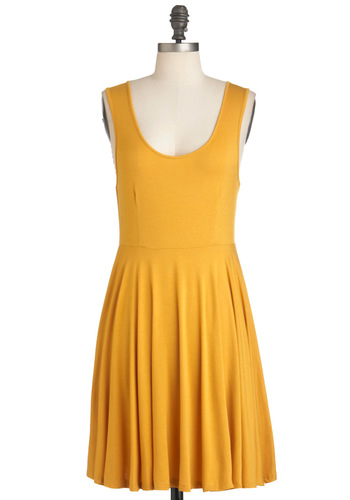 Days of the Chic Dress in Mustard - Mid-length, Yellow, Solid, Casual, Tank top (2 thick straps), Summer, Minimal