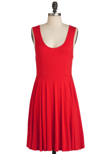 Days of the Chic Dress in Ruby - Red, Solid, Casual, Tank top (2 thick straps), Summer, Holiday Sale, Minimal, Mid-length, Variation, Nautical, Scoop