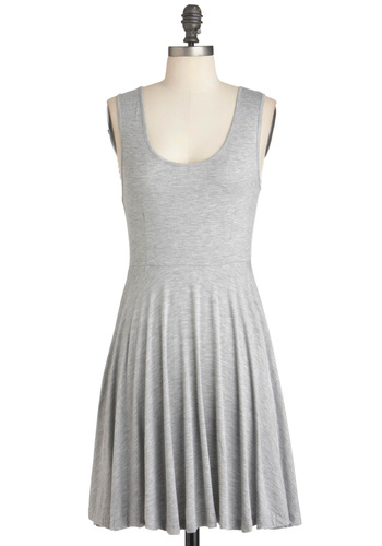 Days of the Chic Dress in Stone - Short, Grey, Solid, Casual, A-line, Tank top (2 thick straps), Summer, Minimal, Variation, Scoop