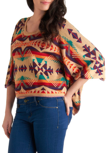 Tres Bonfire Sweater - Short, Casual, Short Sleeves, Multi, Red, Orange, Green, Purple, Tan / Cream, Print, Fall