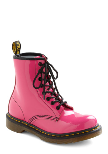 Tread Brightly Boot by Dr. Martens - Pink, Black, Lace Up, Casual, Vintage Inspired, Low