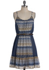 Bluebell Breeze Dress - Blue, Tan / Cream, White, Print, Casual, Empire, Spaghetti Straps, Belted, Mid-length, Ruffles