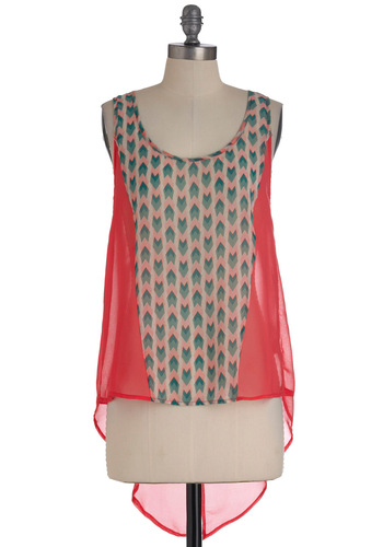 Deco Tour Top - Pink, Blue, White, Casual, Tank top (2 thick straps), Mid-length, Print