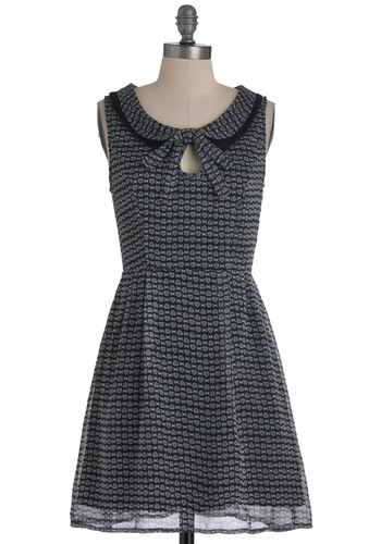 That's Amour Like It Dress - Mid-length, Multi, Blue, Black, Grey, White, Print, Peter Pan Collar, Casual, A-line, Sleeveless, Exclusives, Collared, Fit & Flare
