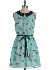 Dulcet Sounds Dress - Green, Print with Animals, Peter Pan Collar, Pleats, Party, Sleeveless, Mid-length, Spring, Belted, Multi, Multi, Sheath / Shift, Pastel, Mint, Collared