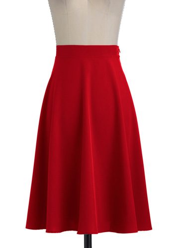 Vacation Day Skirt in Red - Long, Red, Solid, A-line, Jersey, Fit & Flare