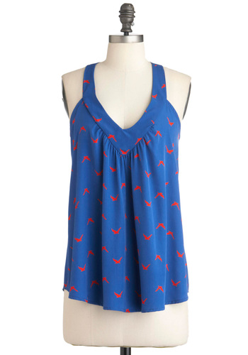 Gliding Light Top - Blue, Red, Print with Animals, Casual, Racerback, Mid-length, Nautical, Summer, Coral, V Neck
