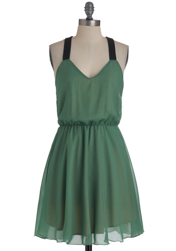 Fern of Events Dress - Green, Black, Solid, Cutout, A-line, Mid-length, Party, Halter, Sheer, V Neck