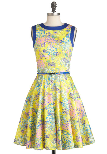 Monet Love Dress - Mid-length, Multi, Floral, Pockets, Sleeveless, Belted, Fit & Flare, Multi, Yellow, Blue, Spring, Cotton, Daytime Party, Variation, Graduation, Crew
