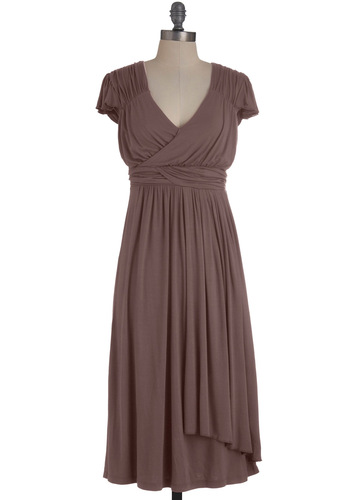 The Terra Dress in Slate - Long, Grey, Solid, Casual, Empire, Cap Sleeves, Ruching, Jersey, Variation