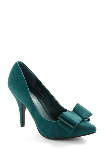 Late Dining Heel - Green, Solid, Bows, Party, Cocktail, Holiday Party, Faux Leather, High, Special Occasion