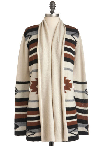 Four Corners Visit Cardigan in Oatmeal by BB Dakota - Brown, Black, Grey, Casual, Long Sleeve, Tan / Cream, Print, Fall, Long