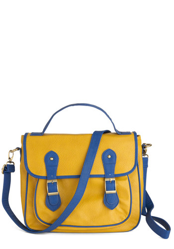 Royal Blue Engagement Bag - Yellow, Blue, Buckles, Casual, Scholastic/Collegiate, Faux Leather
