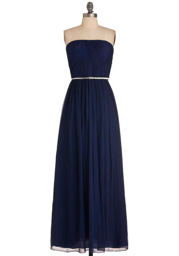 The Local Muse Dress - Blue, Solid, Maxi, Strapless, Formal, Prom, Wedding, Luxe, Gold, Long, Exclusives, Belted, Ruching, Variation, Bridesmaid