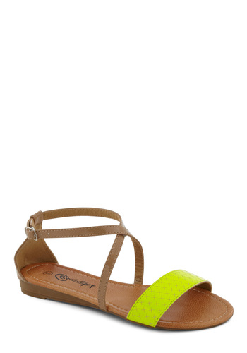Weak in the Neon Sandal in Yellow - Yellow, Summer, Flat, Casual, Tan / Cream, Neon