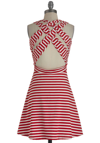 Kiss and Tell Dress in Red - Mid-length, Red, White, Stripes, Backless, Casual, A-line, Sleeveless, Summer, Woven, Nautical, Spring