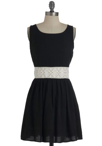 Yes You Canyon Dress in Black - Short, Black, White, Lace, Party