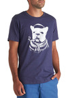 Gentleman and a Collar Tee - Blue, White, Print with Animals, Casual, Short Sleeves, Mid-length