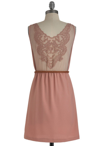 First Blush Dress - Short, Pink, Solid, Embroidery, Party, Sleeveless, Shift, Belted