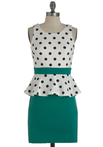 Salt n Peplum Dress - Green, Black, White, Polka Dots, Party, Sleeveless, Peplum, Short, Backless