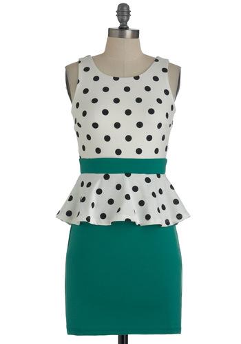 Salt n Peplum Dress - Green, Black, White, Polka Dots, Party, Sleeveless, Peplum, Short, Backless, Summer