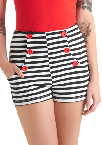 Shorts Ahoy! - Red, White, Stripes, Buttons, Pockets, Nautical, Summer, Black, Casual, Pinup, High Waist