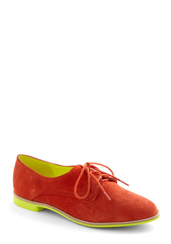 Bright on Your Feet Flat by Dolce Vita - Yellow, Solid, Menswear Inspired, Flat, Lace Up, Copper, Neon, Leather