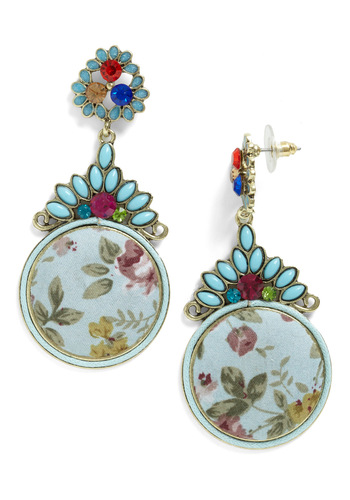 None Quite Like You Earrings - Multi, Floral, Party, Statement, Multi, Rhinestones