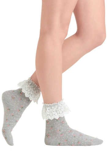 Sweeten Up Your Steps Socks - Grey, White, Polka Dots, Floral, Lace, Casual, Fairytale, Green, Pink, 90s