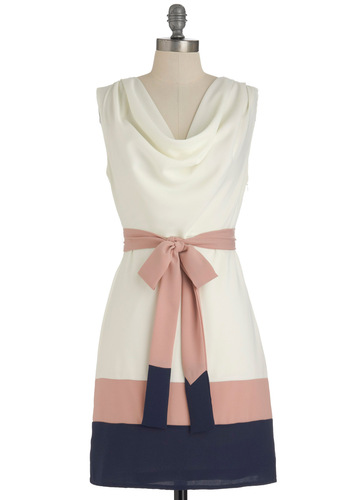 Lines of Poetry Dress - Mid-length, Blue, Pink, White, Party, Shift, Sleeveless, Belted, Pastel, Cocktail, Cowl