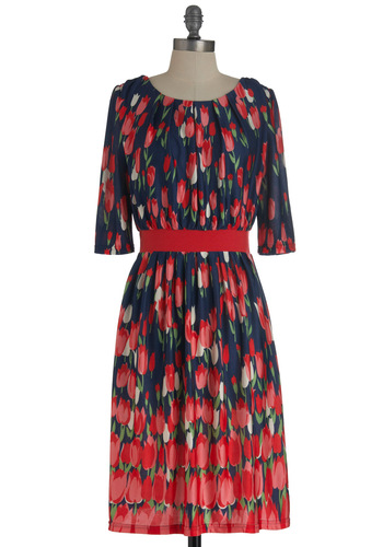 It Takes Tulip Dress - Red, Blue, Floral, Long, Multi, Green, Pink, Party, Sheath / Shift, 3/4 Sleeve, Cocktail