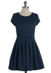 Simple as it Seams Dress - Short, Blue, Solid, Pleats, Work, A-line, Cap Sleeves, Fit & Flare