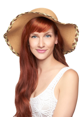 Lakeside by Side Hat - Tan, Green, Brown, Tan / Cream, Solid, Trim, Casual, Boho, Braided, Travel