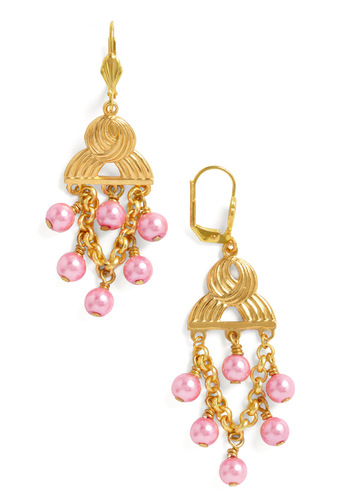 Blossom Festival Earrings - Pink, Gold, Solid, Chain, Party, Cocktail, Pearls, Daytime Party, Tis the Season Sale