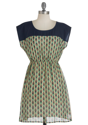 Campsite to See Dress - Short, Multi, Green, Blue, Tan / Cream, Print, Casual, A-line, Cap Sleeves, Sheer, Chevron