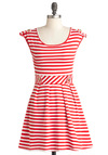 Good Afternoon Dress in Red - Short, White, Stripes, Pleats, Casual, Nautical, A-line, Sleeveless, Summer, Spring, Red, Epaulets, Fit & Flare, Variation