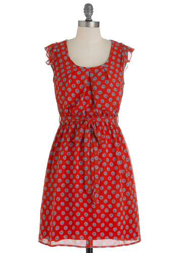 View from the Top Dress - Mid-length, Red, Blue, Floral, A-line, Cap Sleeves, Belted, Ruffles