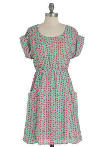 Field the Music Dress - Mid-length, Red, Green, Black, Cutout, Pockets, Casual, A-line, Floral, Short Sleeves