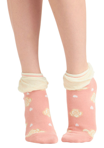 Rosy Toes Socks - Pink, Tan / Cream, Floral, Ruffles, Spring