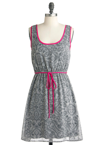 Let Me Paisley Dress - Mid-length, Grey, Pink, Paisley, Casual, Tank top (2 thick straps), Belted, Neon