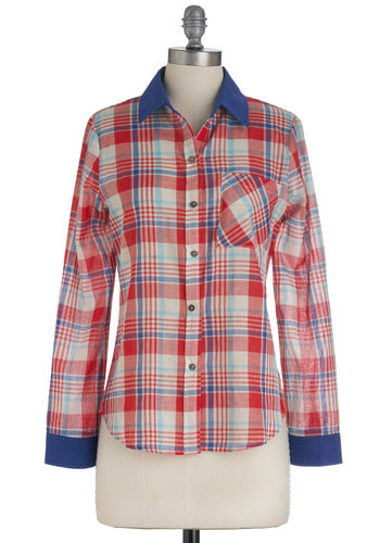 Berry Square Top - Blue, White, Plaid, Buttons, Pockets, Casual, Long Sleeve, Vintage Inspired, Red, Mid-length, Button Down, Collared, Tis the Season Sale