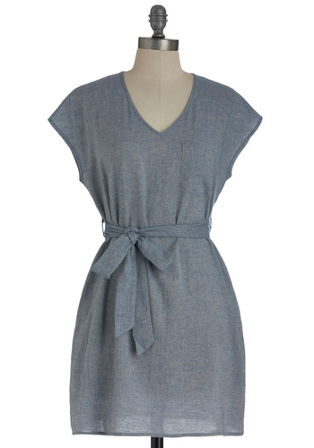 Simplicity by the Bay Dress - Solid, Pockets, Casual, Cap Sleeves, Mid-length, Shift, Belted, Blue, Summer, Cotton, V Neck