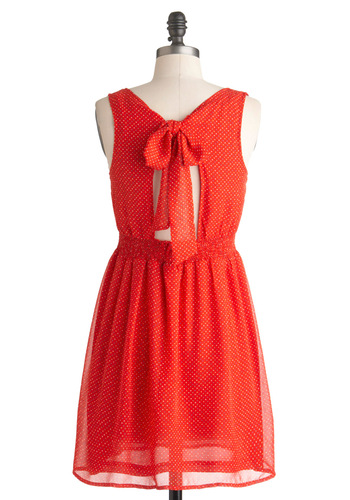 Sprinkle Fever Dress - Red, A-line, Short, Polka Dots, Sleeveless, Summer, Multi, Backless, Casual